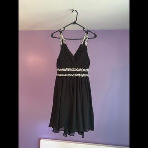 Mini Black Bedazzled Dress
